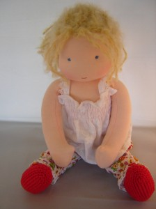 waldorf doll red shoes