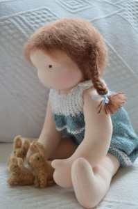 waldorf doll with bunnies